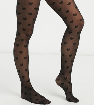 ASOS DESIGN Maternity 30 denier glitter heart tights in black