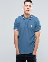 Pretty Green Polo Shirt With Twin Tip In Slim Fit Blue