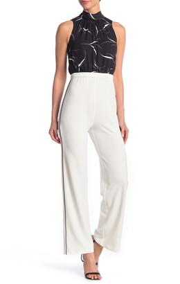 Donna Morgan Mock Neck Stretch Crepe Pant Jumpsuit