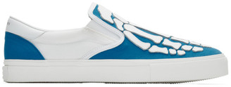 Amiri Blue and White Bones Slip-On Sneakers