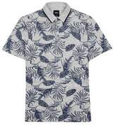 Burton Mens Navy Floral Printed Pique Polo Shirt