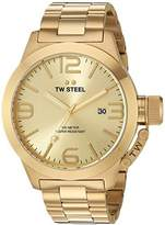 TW Steel Canteen Men's Quartz Watch with Gold Dial Analogue Display and Gold Stainless Steel Gold Plated Bracelet CB102