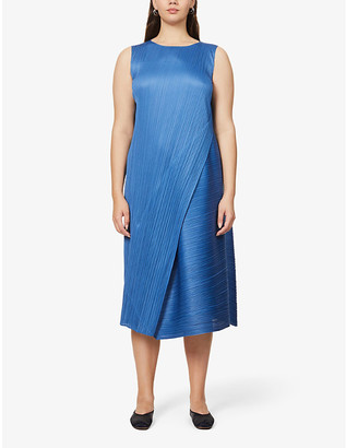 Pleats Please Issey Miyake Diagonal pleated midi dress