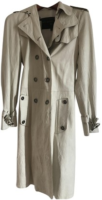 Burberry White Leather Trench Coat for Women