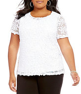 Peter Nygard Plus Short Sleeve Lace Blouse