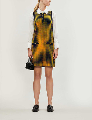Claudie Pierlot Contrast-trim houndstooth wool-blend dress