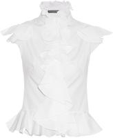 Alexander McQueen Ruffled cotton-poplin sleeveless blouse
