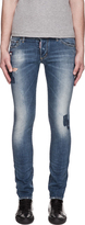 DSquared Dsquared2 Blue Faded & Distressed Slim Jeans