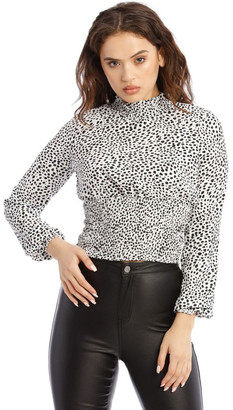 Missguided Shirred Neck Long Sleeve Top