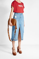 Sjyp Distressed Front-Cut Denim Skirt