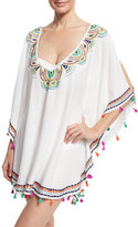 Trina Turk Paisley Embroidered Caftan Coverup, White/Multicolor