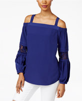 Thalia Sodi Lace-Trim Cold-Shoulder Top, Only at Macy's
