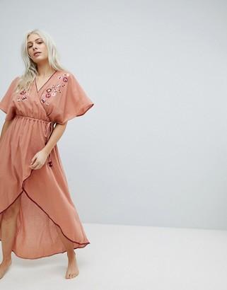 MinkPink Devoted Embroidered Wrap Maxi Beach Dress-Beige