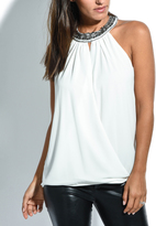 Solange White & Metallic Geo-Print Yoke Neck Top