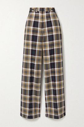 Rokh Checked Twill Wide-leg Pants - Navy