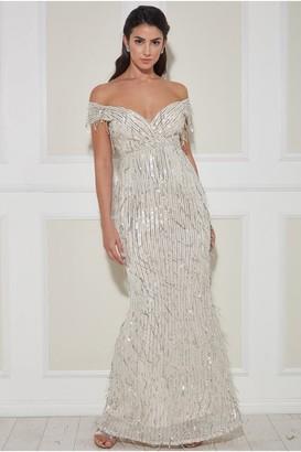 Goddiva Front Wrap Hanging Sequin Maxi Dress - Champagne
