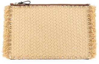 Valentino Large Rockstud Raffia & Leather Pouch