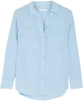 Equipment Slim Signature Washed-silk Shirt - Sky blue