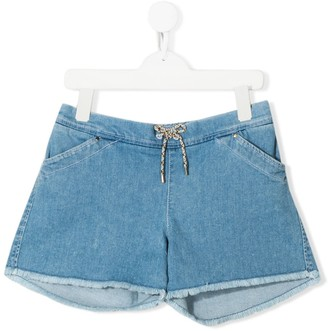 Chloé Kids TEEN drawstring waist denim shorts