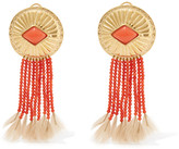 Aurelie Bidermann Gold-plated, coral and feather clip earrings