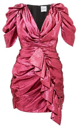 Halpern Ruffled Devore-lame Mini Dress - Fuchsia