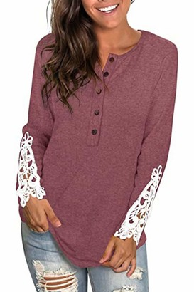 Yidarton Womens Long Sleeve Tops V-Neck Lace Solid Color Henley T Shirt Casual Button Tunic Blouse (Brick Red L)