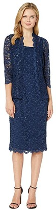 Alex Evenings Tea Length All Over Sequin Lace Jacket Dress (Navy) Women's Dress