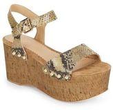 Ash Capri Snake-Embossed Leather & Cork Flatform Sandals