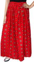 Maple Clothing Indian Long Skirt Cotton Maxi Indian Womens Clothing (Red)