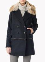 Veronica Beard Antares Convertible Coat With Fur Navy