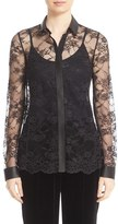 Lafayette 148 New York Women's 'Harla' Faux Leather Trim Lace Blouse