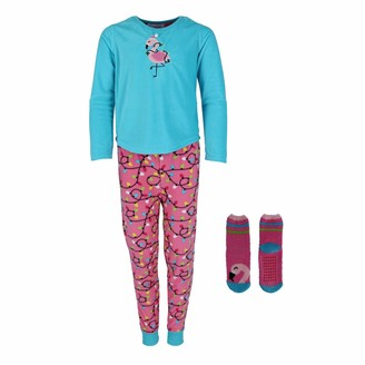 Rene Rofe Girl's Novelty Microfleece Jogger Pajama Set with Bonus Socks Blue Flamingo XL