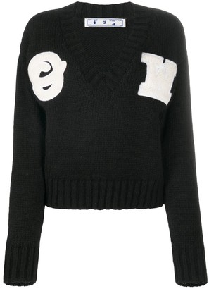 Off-White Appliqued Alpaca And Wool-Blend Jumper
