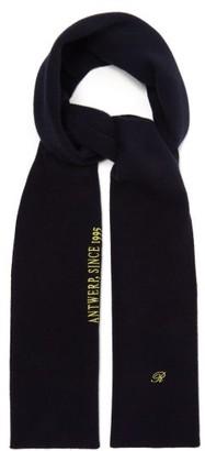 Raf Simons Logo-embroidered Wool-blend Scarf - Mens - Dark Navy