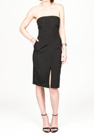 Donna Mizani Front Slit Strapless Midi Dress In Black