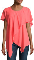 Neiman Marcus Asymmetric Layered Chiffon Top, Coral