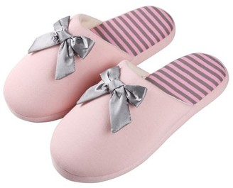 Aerusi Women's Waffle Stripes and Bow Indoor Slippers