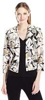 Kasper Women's Artsy Floral Printed Flyaway Jacket