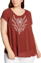 Yours Clothing Yoursclothing Plus Size Womens Burgundy Embroide Gypsy Top With Crochet Trim