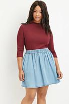 Forever 21 Plus Size Chambray Skater Skirt