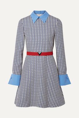 Valentino Belted Poplin-trimmed Printed Wool And Silk-blend Mini Dress - Blue