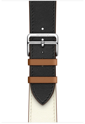 Apple Watch Herms - 44mm Noir/Blanc/Gold Swift Leather Single Tour