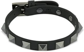 Valentino 1cm Rockstud Leather Bracelet