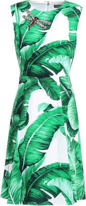 Dolce & Gabbana Appliqued Printed Crepe Dress