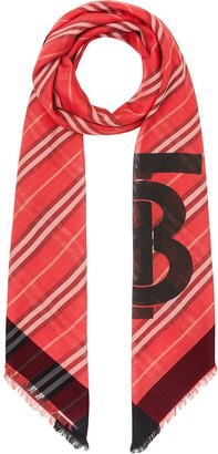 Burberry Monogram Icon Stripe Wool Silk Large Square Scarf