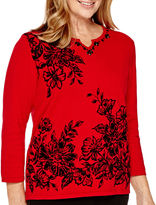Alfred Dunner Madrid 3/4-Sleeve Floral Print Sweater
