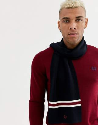 Fred Perry 100% merino wool stripe scarf in navy