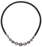 Majorica Leather Graduated Necklace Necklace