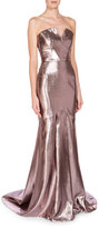 Roland Mouret Strapless Metallic Mermaid Gown, Light Rose