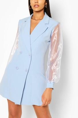 boohoo Organza Sleeve Double Breasted Woven Blazer Dress